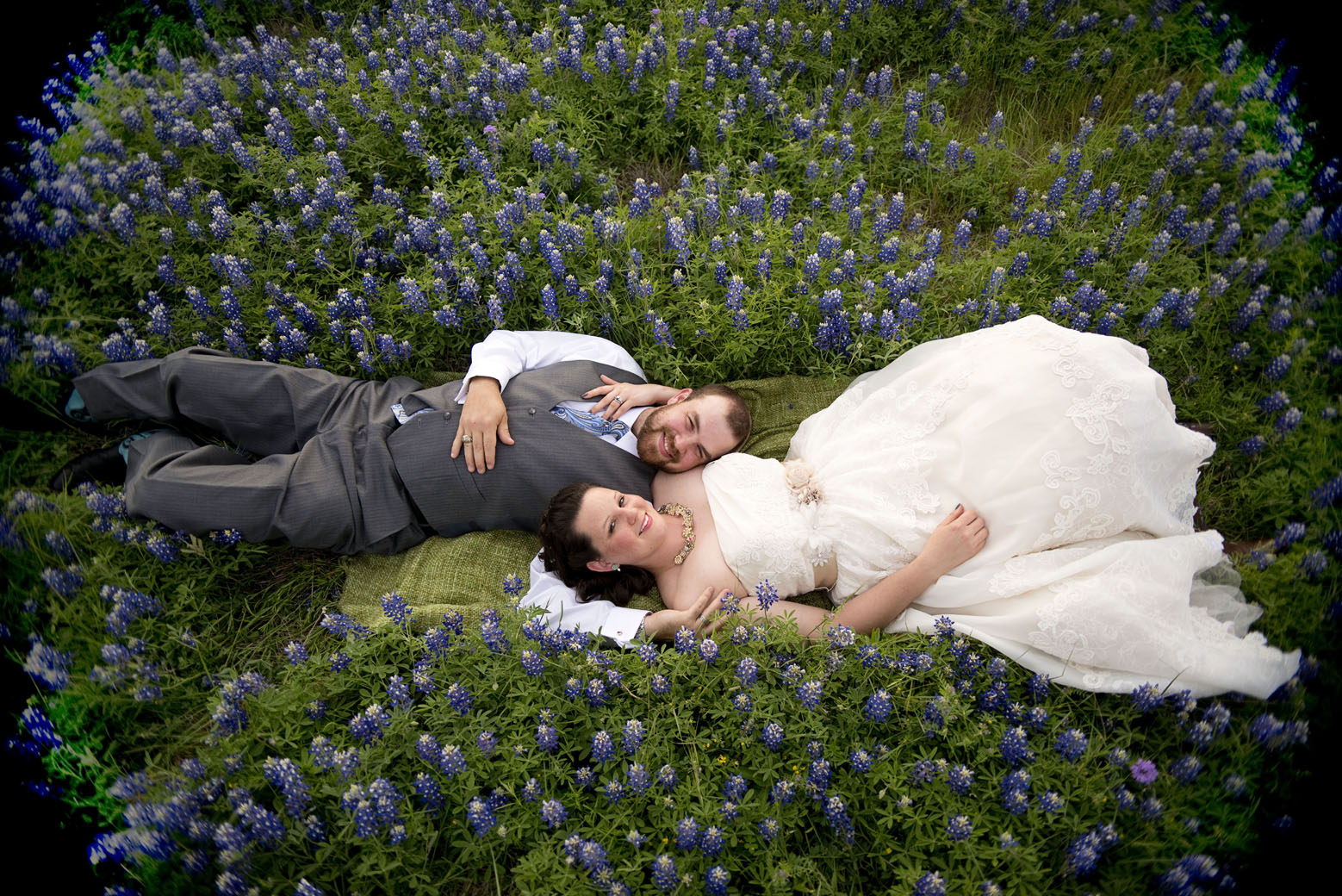 bluebonnets plus bride plus groom