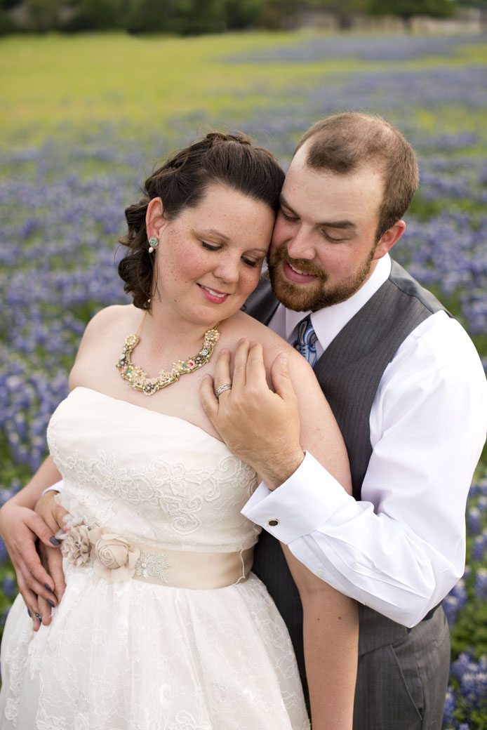 bluebonnets with bride