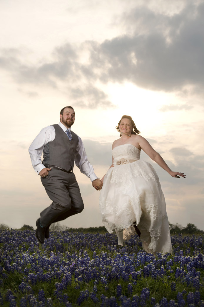 bluebonnets with bride and groom-1